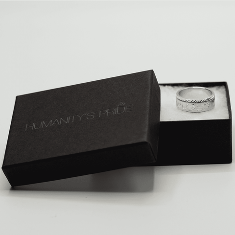 Personalized Spinning Ring with English & Arabic Name in 18K White Gold Plating - Humanity's Pride