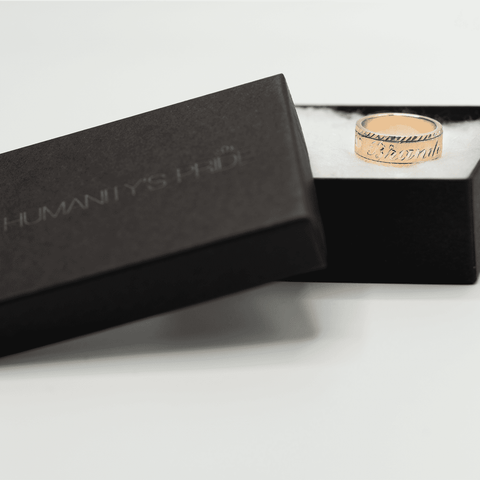 Personalized Spinning Ring with English & Arabic Name in 18K Rose Gold Plating - Humanity's Pride