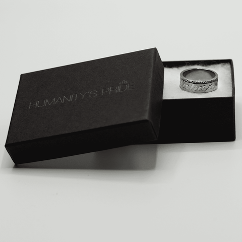 Personalized Spinning Ring with English & Arabic Name in Black Silver - Humanity's Pride