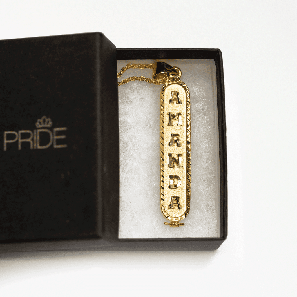 Personalized Nameplate Necklace in Arabic, English or Egyptian with 18K Yellow Gold Plating - Humanity's Pride