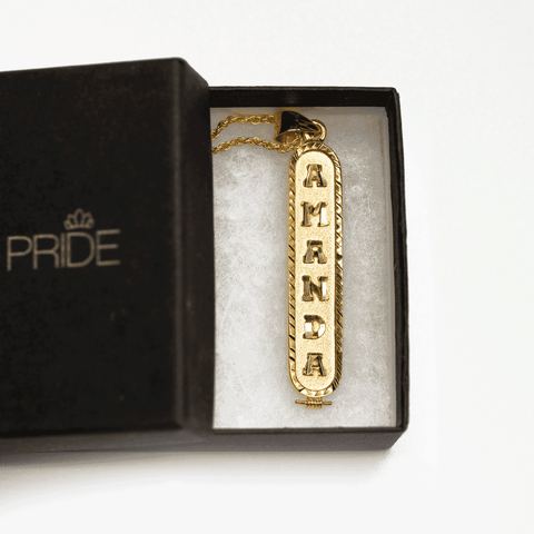 Image of Personalized Nameplate Necklace in Arabic, English or Egyptian with 18K Yellow Gold Plating - Humanity's Pride