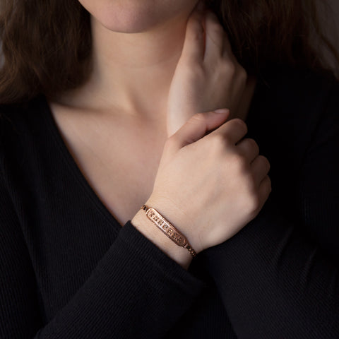Image of Personalized Bracelet in Arabic, English or Egyptian with 18K Rose Gold Plating