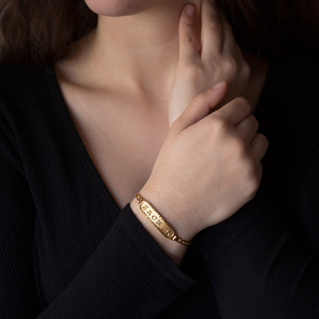 Personalized Bracelet in Arabic, English or Egyptian with 18K Yellow Gold Plating
