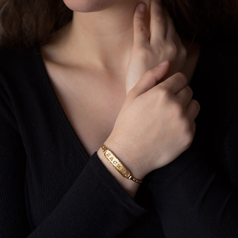 Image of Personalized Bracelet in Arabic, English or Egyptian with 18K Yellow Gold Plating