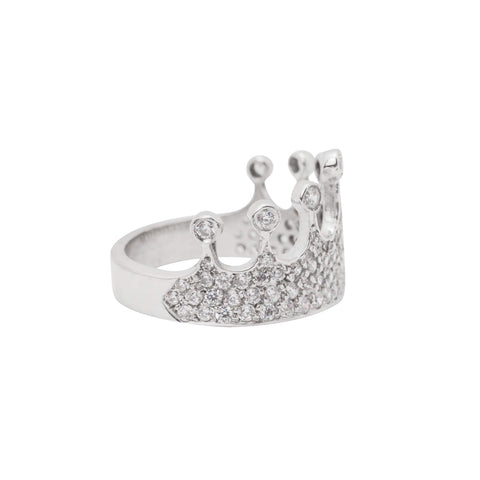 Image of Queen Mother Diamond Ring in 18K White Gold Plating