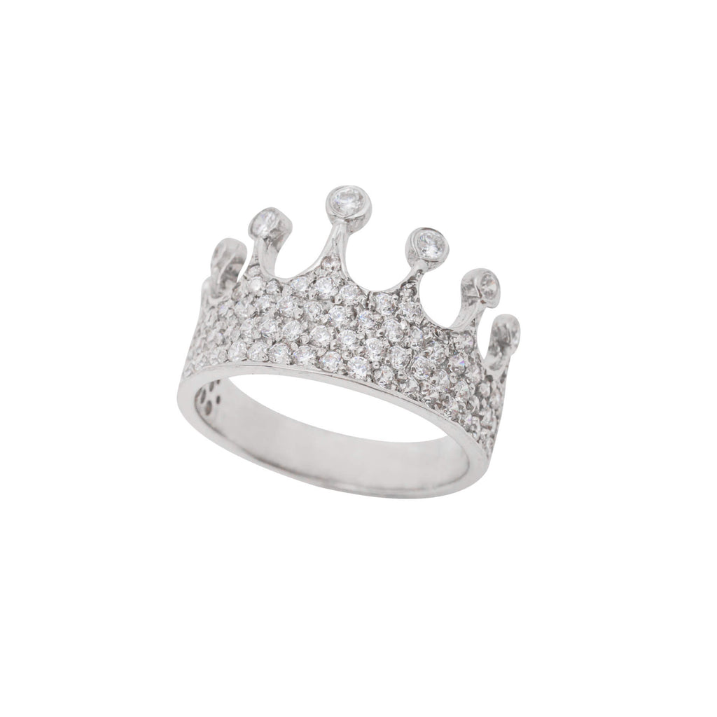 Queen Mother Diamond Ring in 18K White Gold Plating