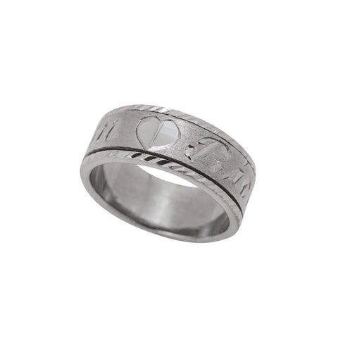 Personalized Spinning Ring with English & Arabic Name in Black Silver