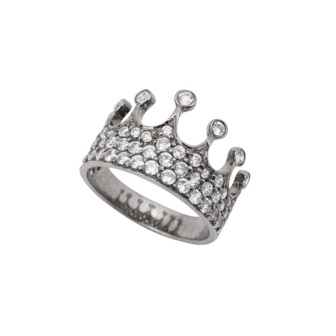 Queen Mother Diamond Ring in Black Silver