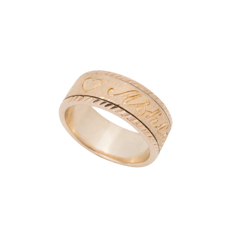 Personalized Spinning Ring with English & Arabic Name in 18K Rose Gold Plating