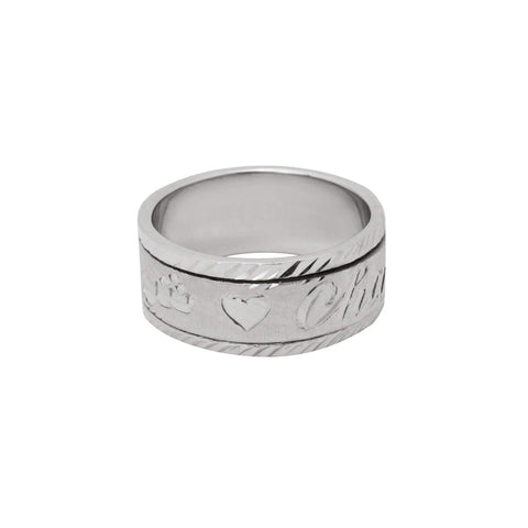 Personalized Spinning Ring with English & Arabic Name in 18K White Gold Plating