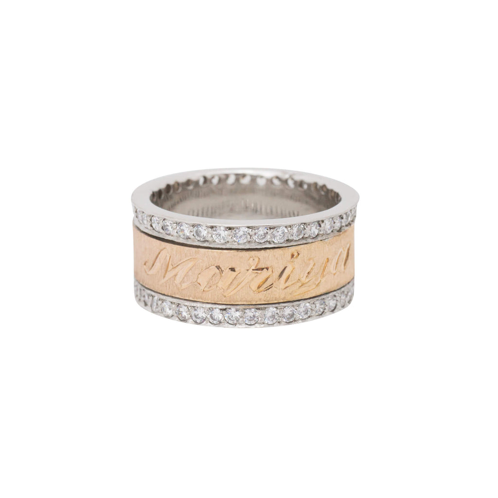 Personalized Diamond Spinning Band with English & Arabic Name in 18K Rose Gold Plating