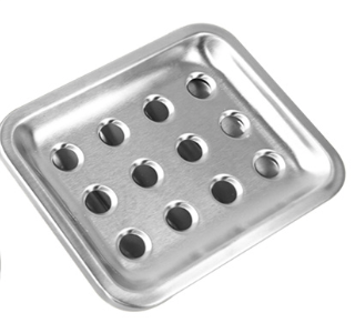 Stainless Steel Square Soap Dish with Strainer