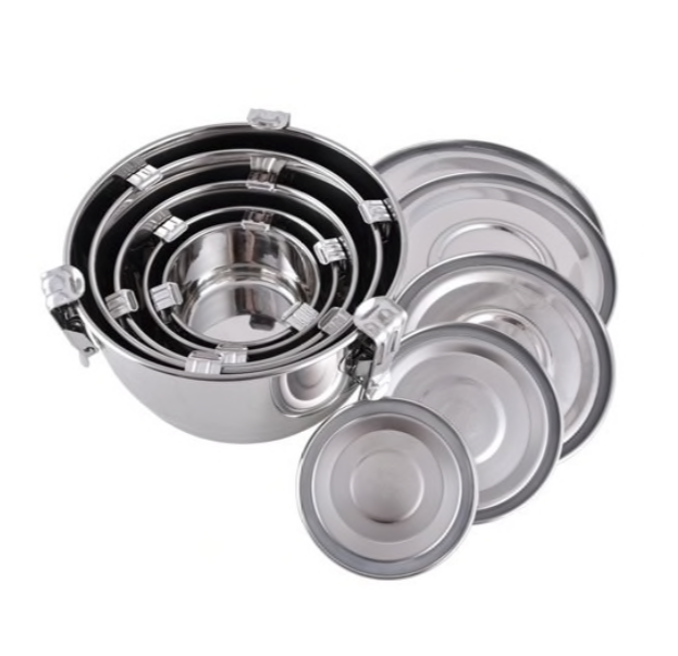 Set of 5 Nestable Stainless Steel Round Airtight Containers - Small / Medium