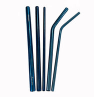 Blue Stainless Steel Drinking Straw