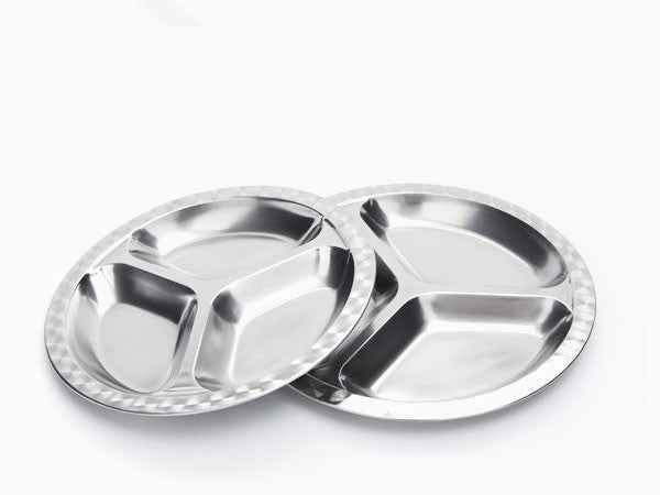 Divided Stainless Steel Food Tray (Multiple Sizes)