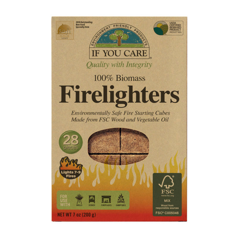 100% Biomass Firelighters - Non Toxic & Vegetable Oil