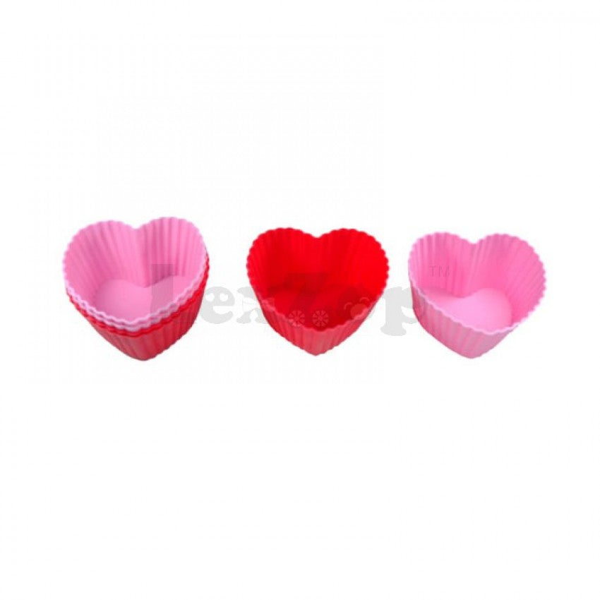 Silicone Heart Shape Muffin Cake Cases (Set of 6pcs)