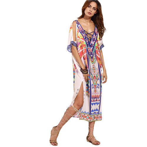Tiffany Boho Multicolor Midi Dress - That Mermaid Shop
