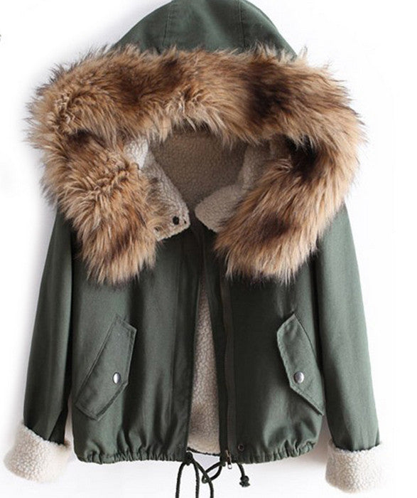 Navy Green Mini Parka with faux fur lining - That Mermaid Shop