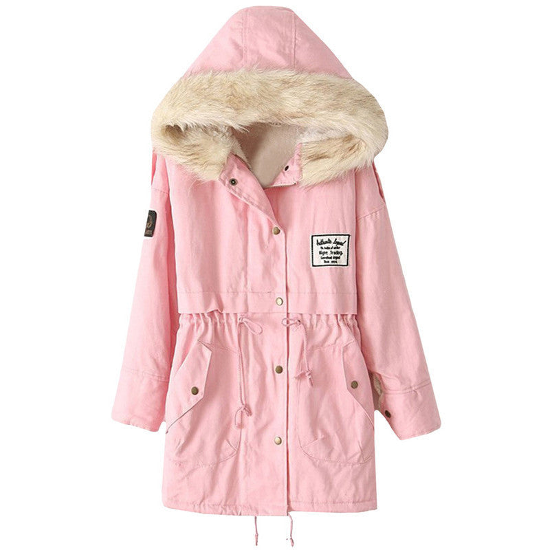 Baby Pink Parka with faux-fur lined hoodie - That Mermaid Shop