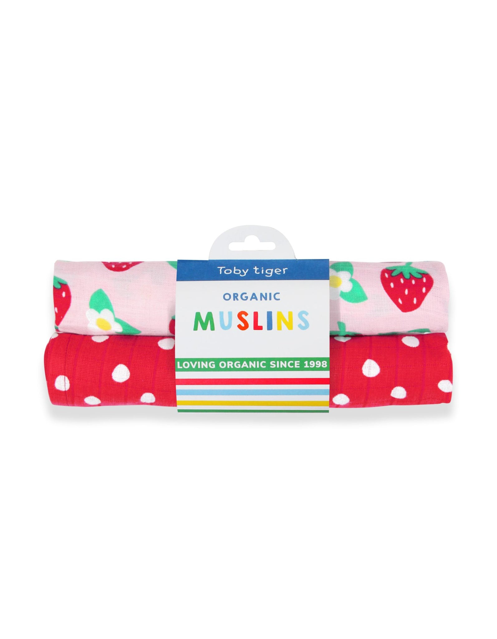 Toby Tiger Two Pack Strawberry Muslins
