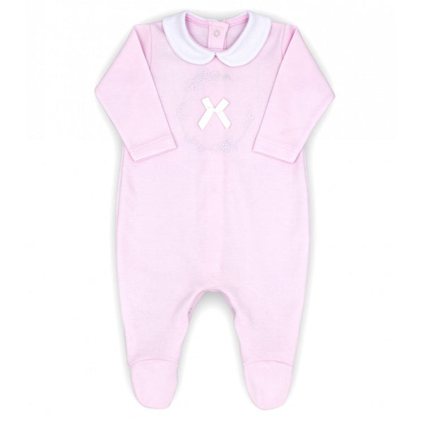 Rapife Soft Pink Embroidered Bow Sleepsuit