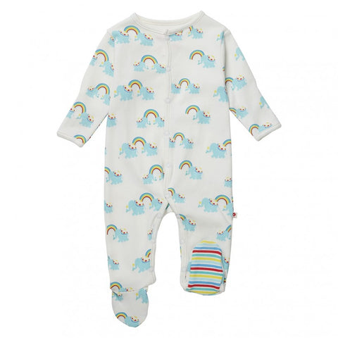 Piccalilly Rainbow Elephants Sleepsuit