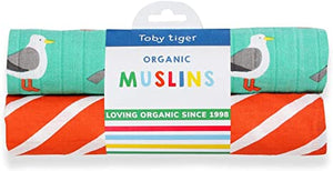 Toby Tiger Two Pack Seagull Muslins