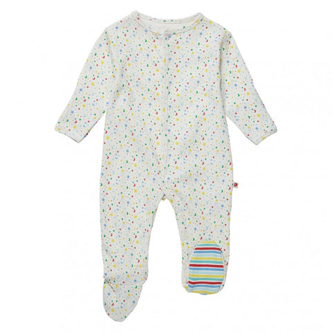 Piccalilly Ditsy Star Footed Sleepsuit