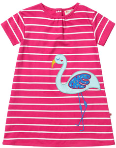 Piccalilly Pink Striped Flamingo Dress