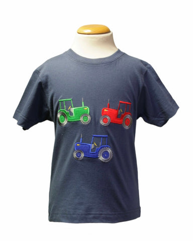 Blue T-shirt With Tractor Trio