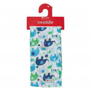 Piccalilly Blue Elephant Muslin Swaddle