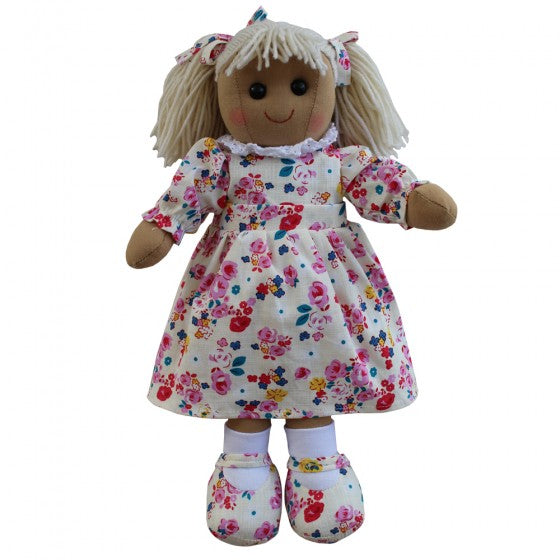 Floral & White Dress 40cm Rag Doll