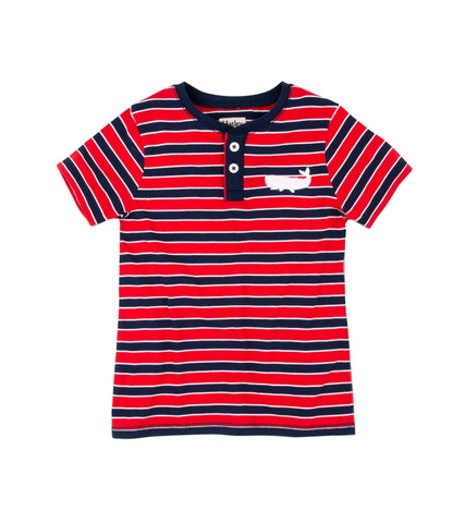 Red & Navy Stripe Henley T Shirt