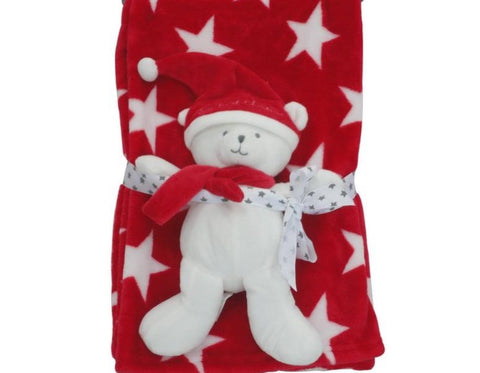 Pitter Patter Stars Fleece Blanket With Bear