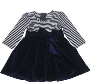 Pitter Patter Navy Striped Dress with Bow