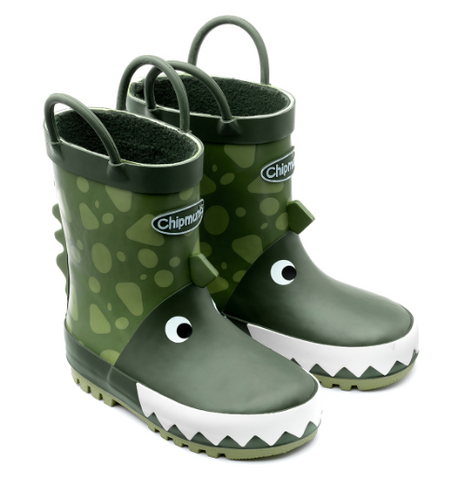 Chipmunks Green Dinosaur Children's Wellies