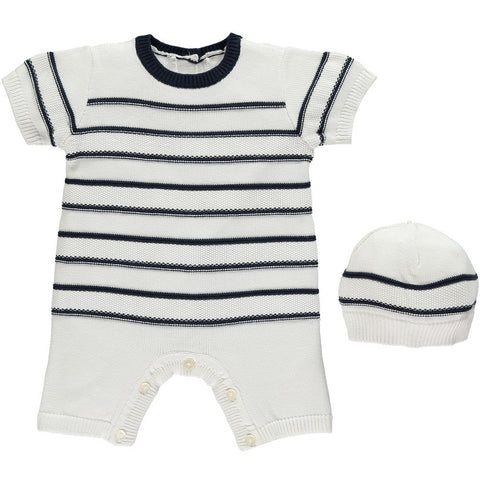 Emile et Rose Kendrick Navy Knitted Romper with Matching Hat