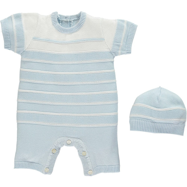 Emile et Rose Pale Blue Knitted Romper With Hat