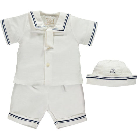 Emile et Rose White Sailor Top & Shorts with Hat