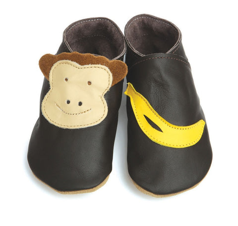 Starchild Monkey & Banana Leather Baby Shoes