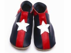 Navy Stripey Star Leather Baby Shoes