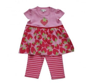 Pitter Patter Strawberries & Stripes Two Piece Outfit