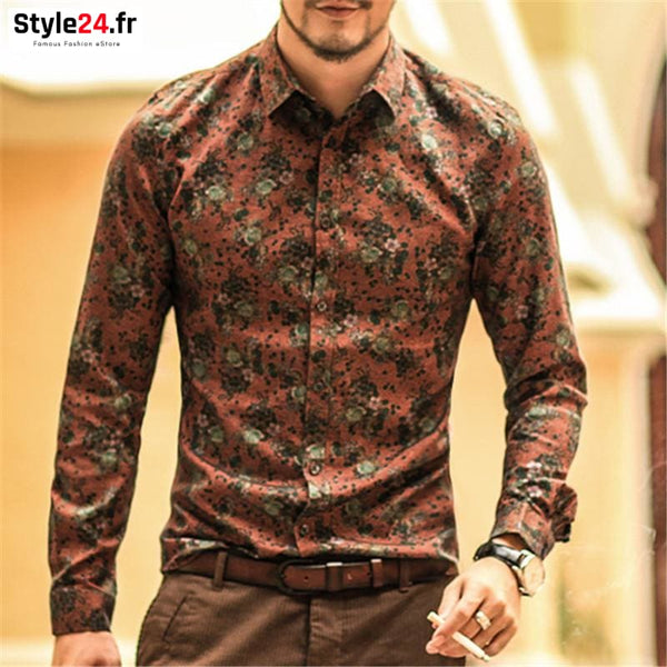 Chemise fashion fleurs vintage | orange Style24.fr Vêtements Chemises 20-50 color-orange homme style24-fr vetements-chemises www.style24.fr