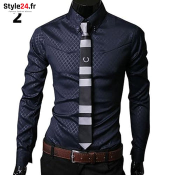 Chemise Fashion Luxury Business | Marine Style24.fr Vêtements Chemises Navy Blue / 4XL color-blue color-navy-blue homme style24-fr under-20