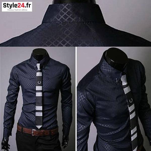 Chemise Fashion Luxury Business | Marine Style24.fr Vêtements Chemises color-blue color-navy-blue homme style24-fr under-20 www.style24.fr