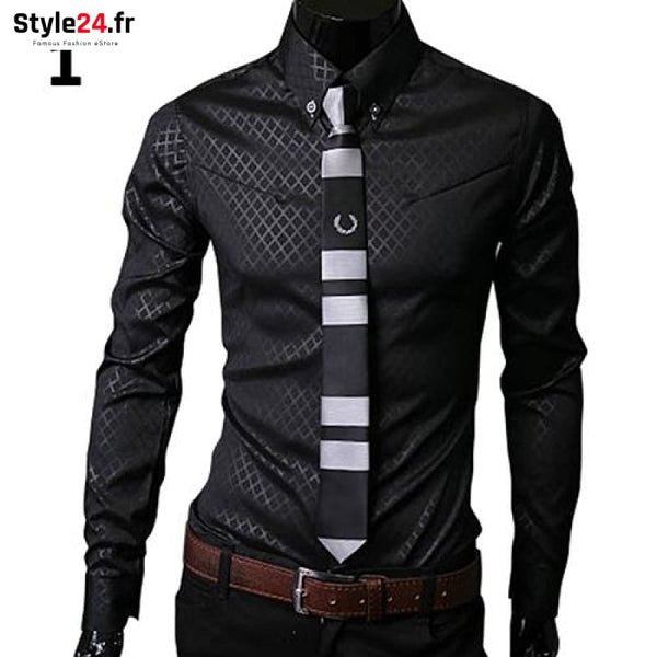 Chemise Fashion Luxury Business | Noir Style24.fr Vêtements Chemises Black / 4XL color-black color-noir homme style24-fr under-20