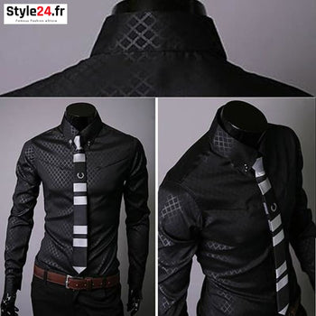Chemise Fashion Luxury Business | Noir Style24.fr Vêtements Chemises color-black color-noir homme style24-fr under-20 www.style24.fr