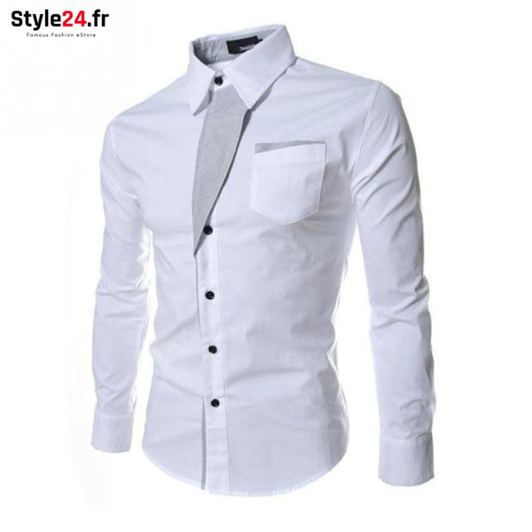 Chemise Hot Fashion Men | blanc Style24.fr Vêtements Chemises White / M -35% color-blanc color-white homme style24-fr under-20