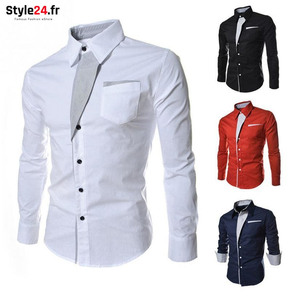 Chemise Hot Fashion Men | blanc Style24.fr Vêtements Chemises color-blanc color-white homme style24-fr under-20 www.style24.fr
